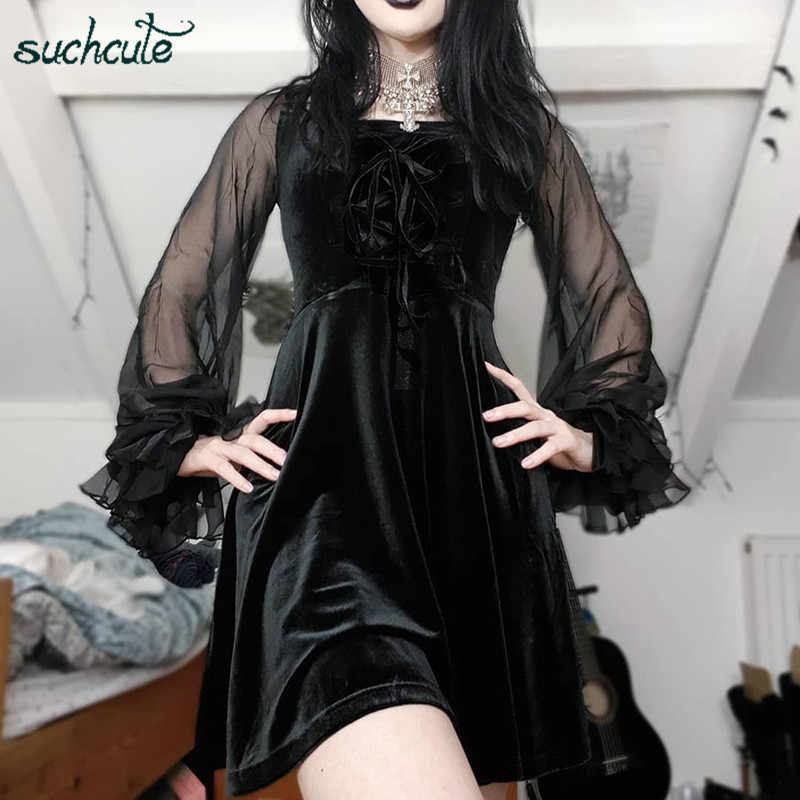 SUCHCUTE Lace Longslive Dress For Women Black Mody Autumn 2019 Ladies Sukienki Female Dresses Roupas Feminina Female Party Night