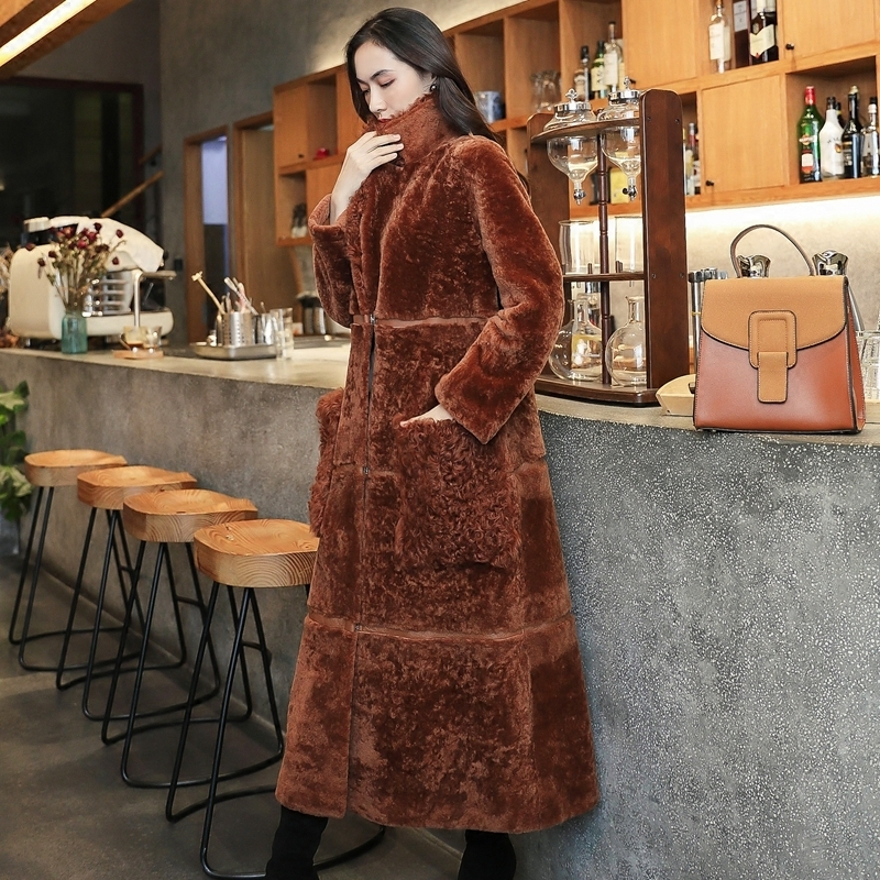 Faced Double Fur Coat Female Natural Sheep Shearling Fur Coats Winter Jacket Women Long Genuine Leather Jacket MY3945 S