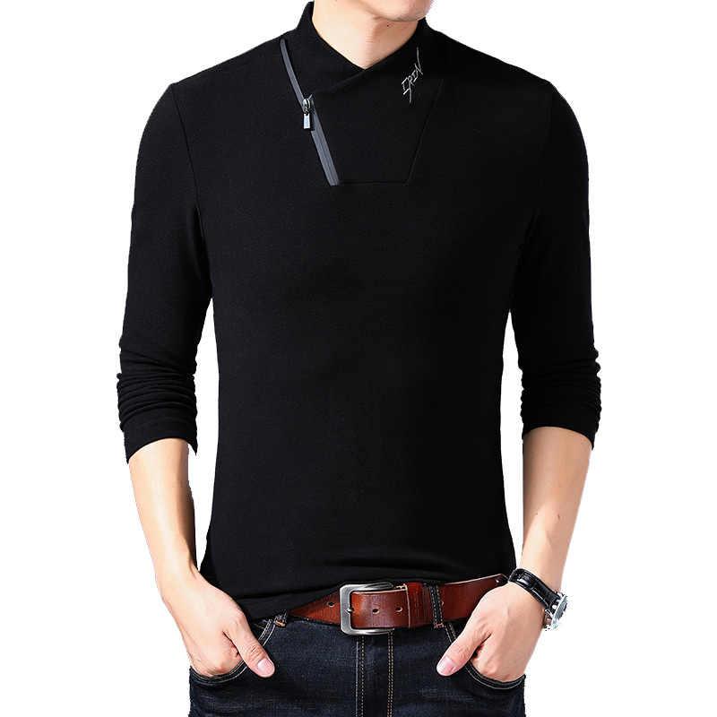 BROWON 브랜드 2020 뉴 스타일 코튼 남성 티셔츠 긴 소매 티셔츠 남성 솔리드 컬러 지퍼 프린트 칼라 오버 사이즈 티셔츠