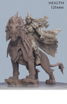 1/16 125mm ancient warrior with animal stand   Resin figure Model kits Miniature gk Unassembly Unpainted