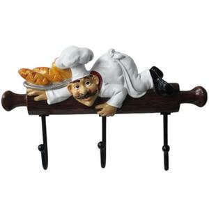 Image 2 - Creative מטבח קיר ווי שף צלמית קיר מתלה שרף קרפט לסלון מטבח אופי דגם קישוטי גינת בית