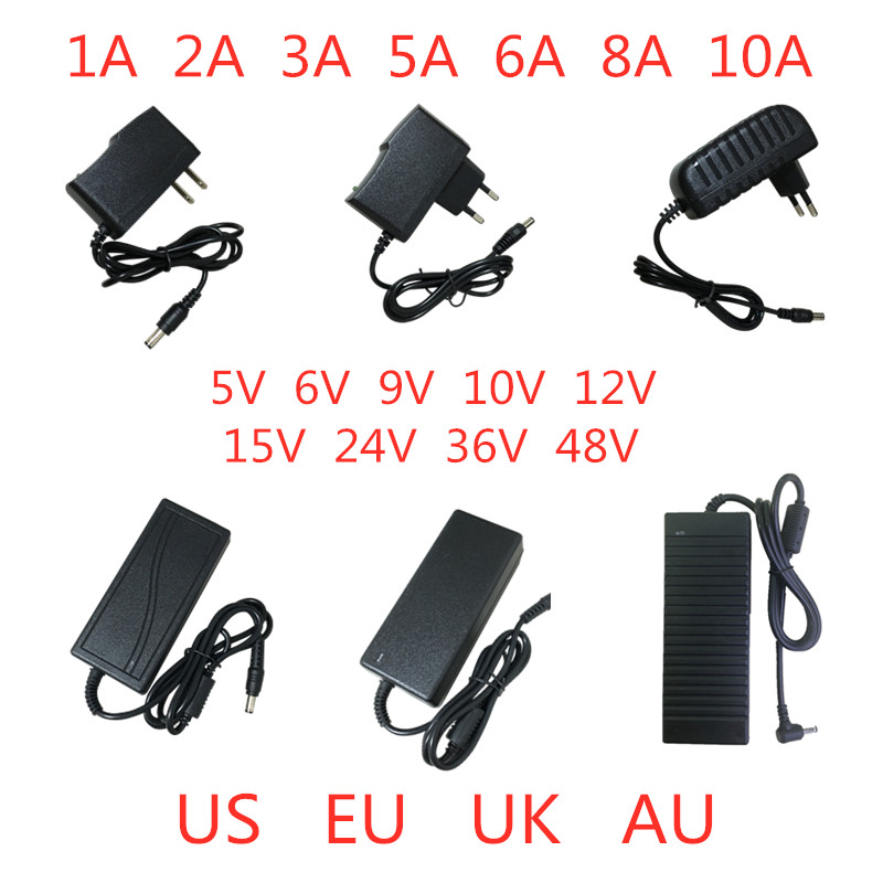 <font><b>5V</b></font> 6V 9V 10V 12V 15V 24V 36V 48V 1A 2A 3A 5A <font><b>6A</b></font> 8A 10A Power Supply Adapter lighting transformer Converter For LED strip light image