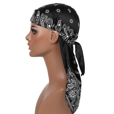 New Men's Durag Hip-Hop Bandanna Cap Rapper Turban Hat Silky Headband Floral Du-rag Headwear Chemotherapy Cap Amoeba Pirate Hat 6