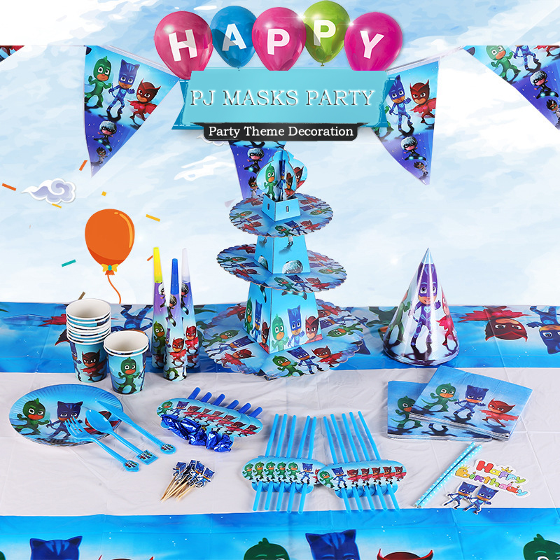 Pj Masks Birthday Party Decorations Cartoon Anime Pj Birthday Supplies Plate Cup Fork Tableware Kids Toys For Children P20