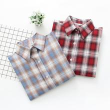 Fashion Long-sleeved Plaid Blouse Autumn New Loose Korean Version Wild Female shirts Women Bottoming Tops
