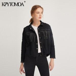 Image 3 - KPYTOMOA Women Fashion Tassel Beaded Oversized Denim Jacket Coat Women Vintage Long Sleeve Frayed Hem Female Outerwear Chic Tops