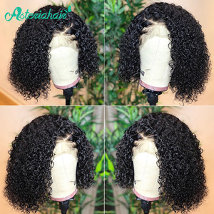 Asteria Hair 13x4 Short Bob Wig Curly Human Hair Wig For Black Women Pre Plucked Curly Lace Front Wig Remy Brazilian Lace Wigs(China)