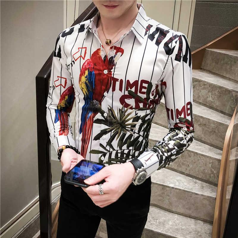 2020 frühjahr Neue Muster Druck Hemd Barock Slim Fit Party Club Shirt Männer Camisa Homem Männlichen Lang Hülse Hemd Herbst kleidung