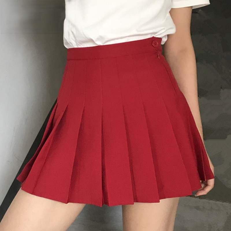 2020 Женская плиссированная юбка с боковыми пуговицами, однотонная цветная юбка, женская модная повседневная короткая юбка с высокой талией