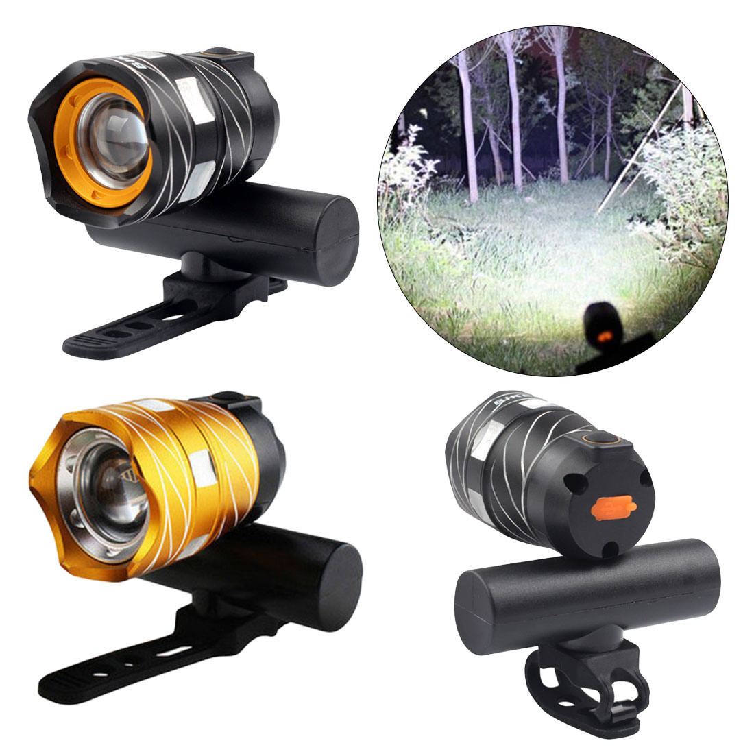 <font><b>T6</b></font> 400 Meters <font><b>LED</b></font> <font><b>Bicycle</b></font> <font><b>Light</b></font> Bike Front Lamp Outdoor Torch Headlight USB Rechargeable Built-in Battery 15000LM image