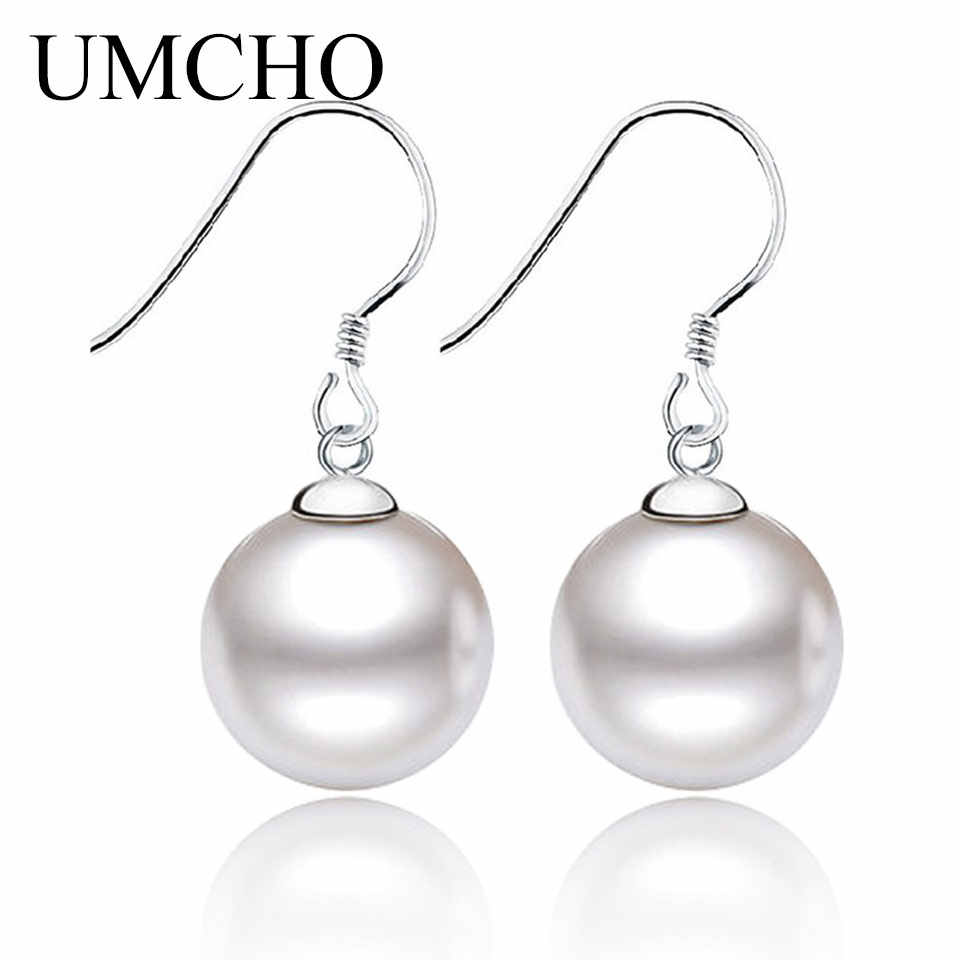 Umcho Solid Perak 925 Mencegah Alergi Air Tawar Mutiara Drop Anting-Anting Anting-Anting untuk Wanita Pertunangan Elegan Mulia Perhiasan