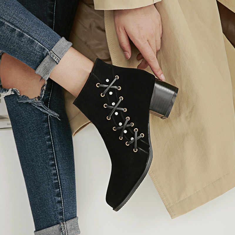 Chelsea bottes courtes femme talons chunky nubuck cuir cheville martin botas cristal zipper 34-43 slim mode chaussons femme hiver