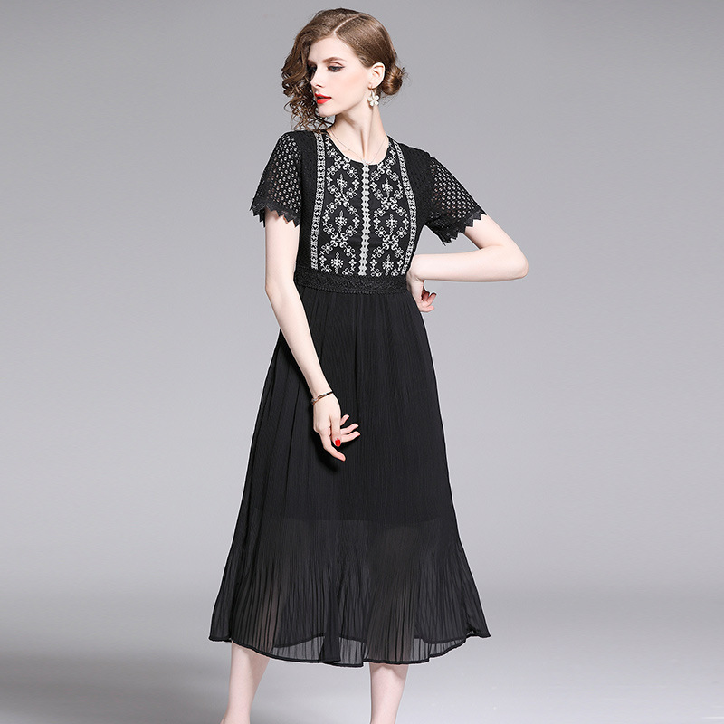 Oufan Dress 2019 New Style Hollow Out Lace Short-sleeve Dress High-waisted Slimming Embroidery Crew Neck Skirt Retro