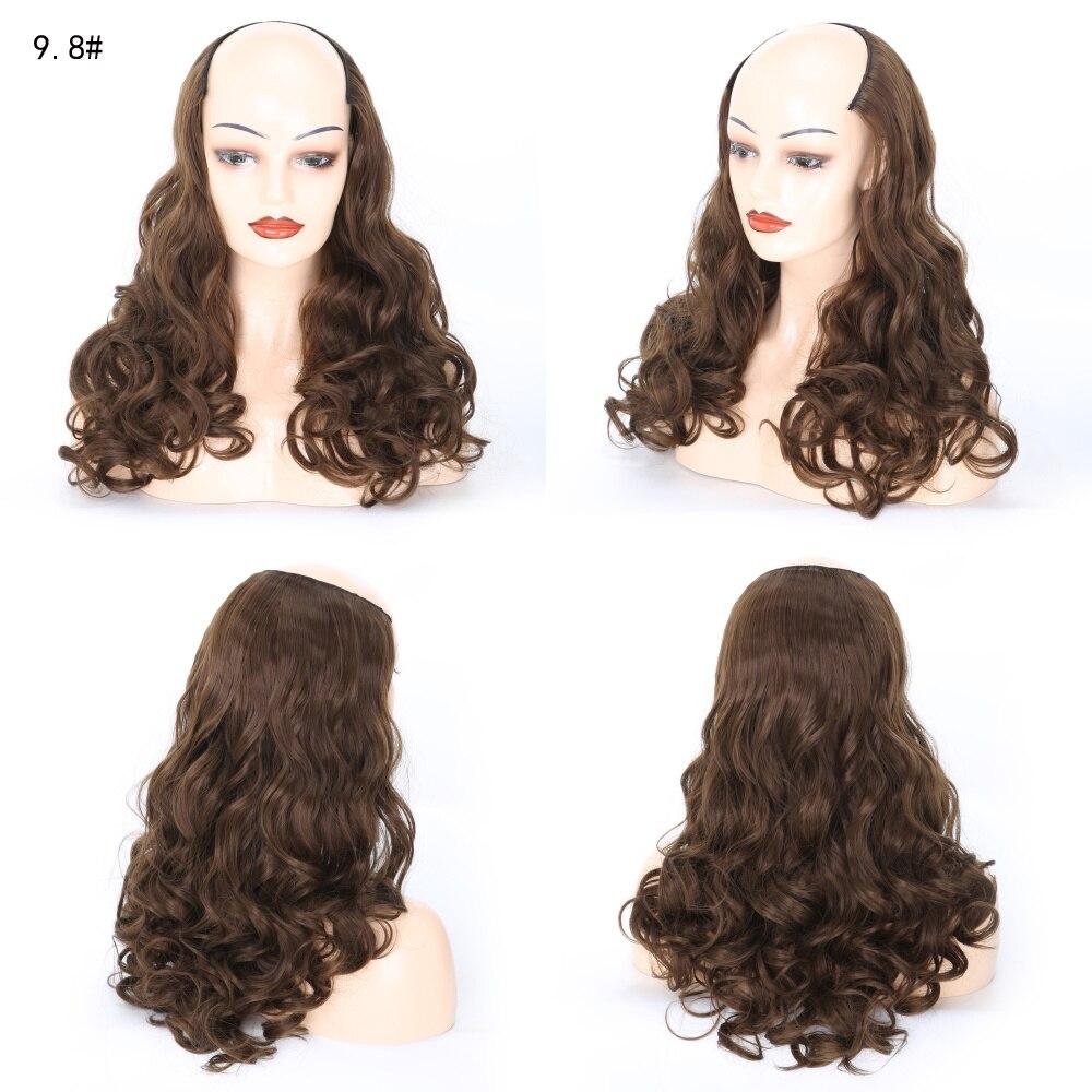 Beiyufei longo ondulado u-shaped meia peruca para