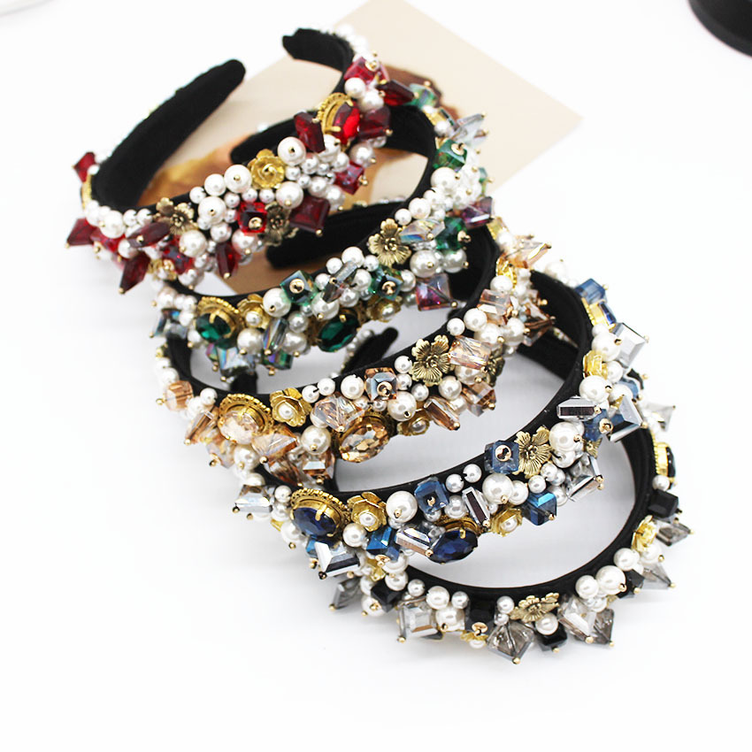 Women Baroque Rhinestone Hairbands Wedding Bride Crystal Jeweled Pearl Headbands For Women Girls Diamond Beads Hair Accessories