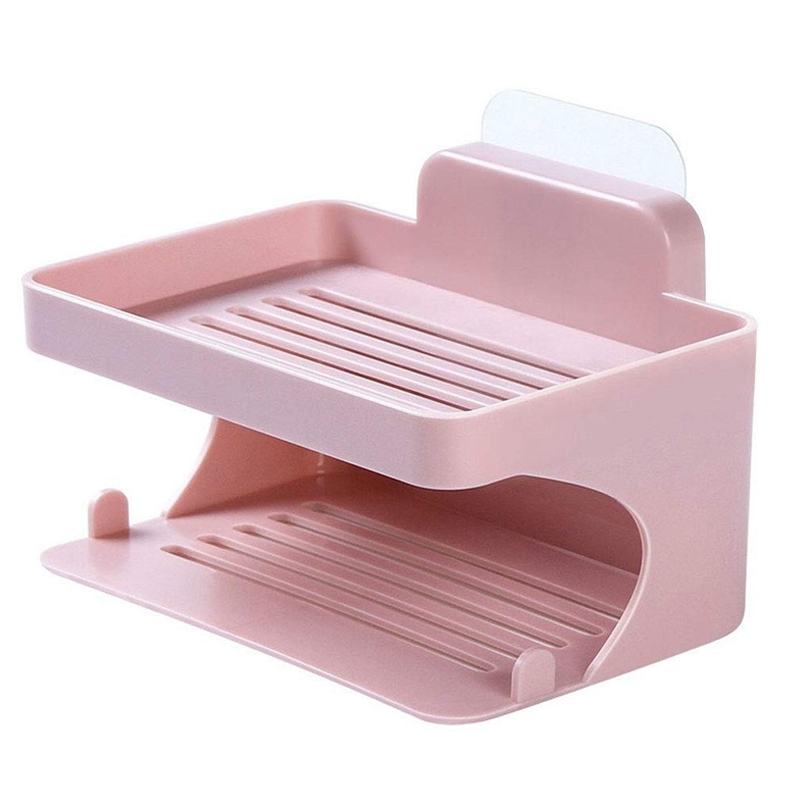 Home Drain Suction Cup Soap Holder Double Layer Wall Mount Soap Box Container Bathroom Soap Dish Sponge Soap Tray (Pink)