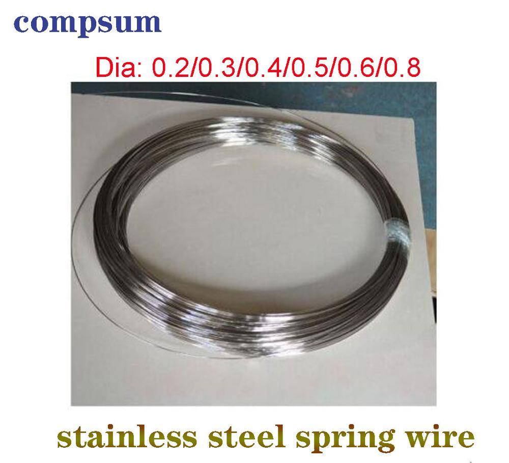 Fio de aço inoxidável resistente todo o fio duro 0.2/0.3/0.4/0.5/0.6/0.8 fio de aço da mola