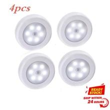 4 個ボディモーションセンサー 6LED壁ランプ夜ライト誘導ランプ廊下キャビネット検索ledランプホーム電子accessorie