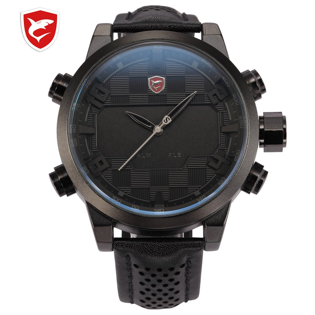 SH203-206 Luxury Leather Package Digital Shark Sport Watch Waterproof Dual Time Oversized LED Calendar Alarm Men Quartz Watches