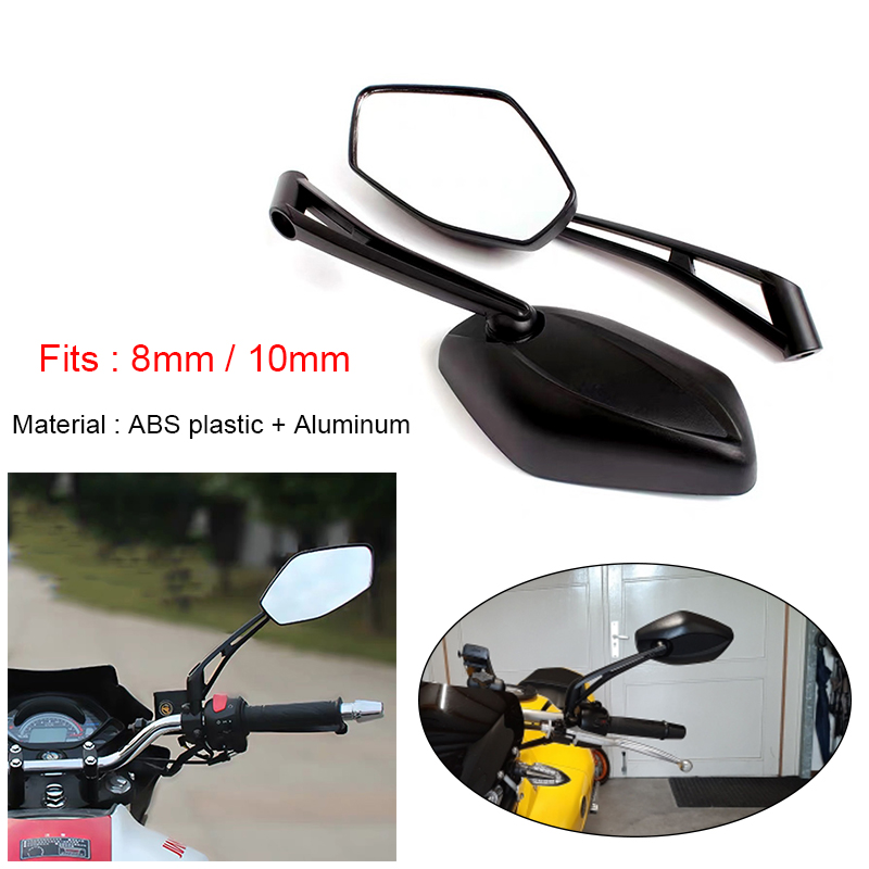 2x Universal Adjustable 360 Degree Motorcycle Scooter Moped ATV Rearview Mirrors