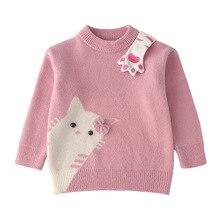 2019 Cute Girls Knitted Shirt Winter Mink Fleece Jacket Childrens Warm Sweater kids O-Neck pink sweater  Cotton