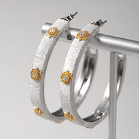 CMajor Solid Sterling Silver Fine Jewelry Vintage Elegant Two Tone CZ Hoop Earrings For Women