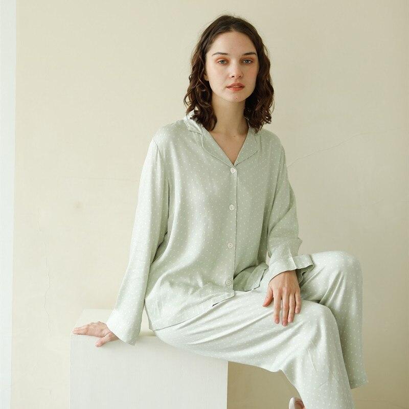 Soft Viscose Women's Long Sleeve Turn-down Collar Pajama Sets Long Pants White Dot Light Green Loose Sleepwear Spring Autumn