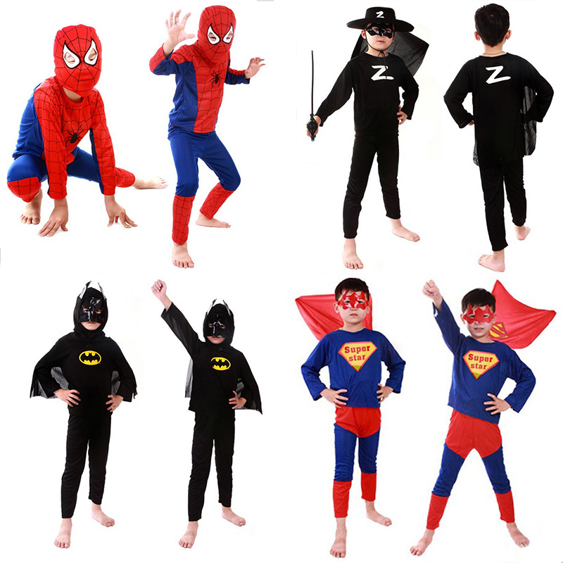 Red Superhero  Cosplay Costume For Children Clothing  Sets Spider  Suit Halloween Party Cosplay Costume For Kids Long Sleeve