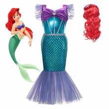 Costume Disney la petite sirène pour filles, robe de soirée princesse Ariel, frocs de plage d'été, vêtements fantaisie de conte de fées pour enfants