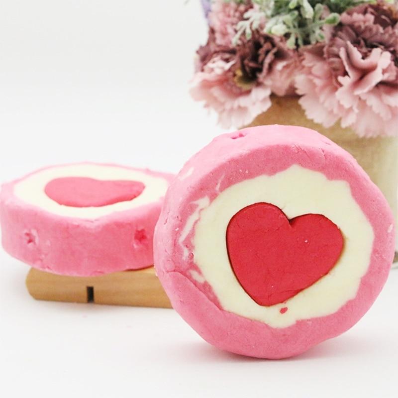 Пузырь Сердце Ванна Бомба Натуральный Шипучий для Женщин Увлажняет Сухая Чувствительная Кожа Высвобождает Цвет Аромат Пузырьки