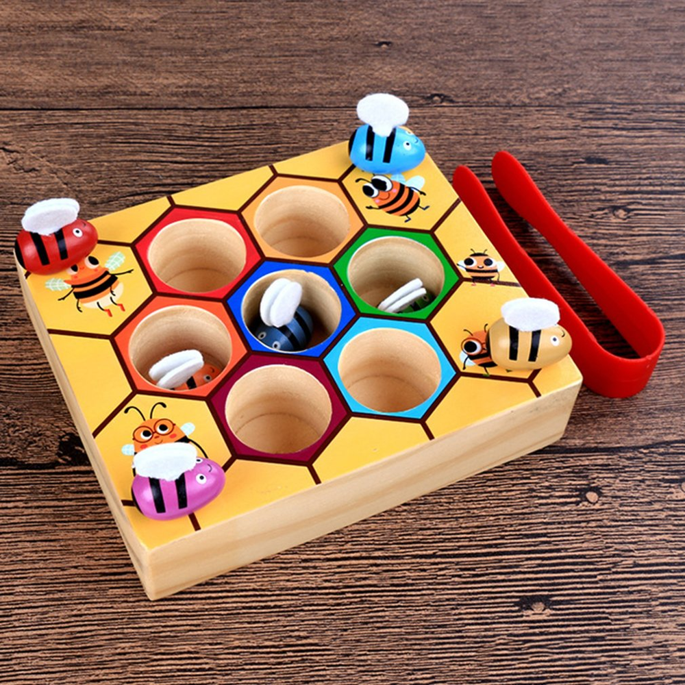 Children Clip Beehive Games Intelligence Color Cognition Toys Clip Small Bee Toy Wooden Early Childhood Education Tools