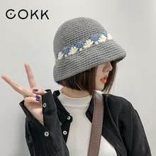 COKK hiver chapeaux pour femmes à la main au Crochet tricoté seau chapeau pêcheur casquette Vintage coréen chaud hiver casquette Gorro Bob nouveau 2020