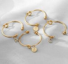 Hecheng, moda 2021, nova carta pulseira, jóias femininas, inicial liga carta charme pulseira para meninas femininas