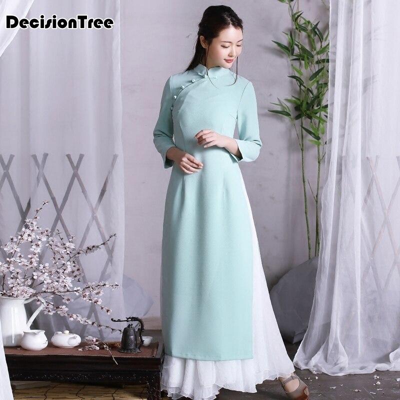 2020 Long Aodai Vietnam Cheongsam Chinese Style Dress Elegant Qipao For Woman Traditional Clothing Solid Full Sleeve Ao Dai