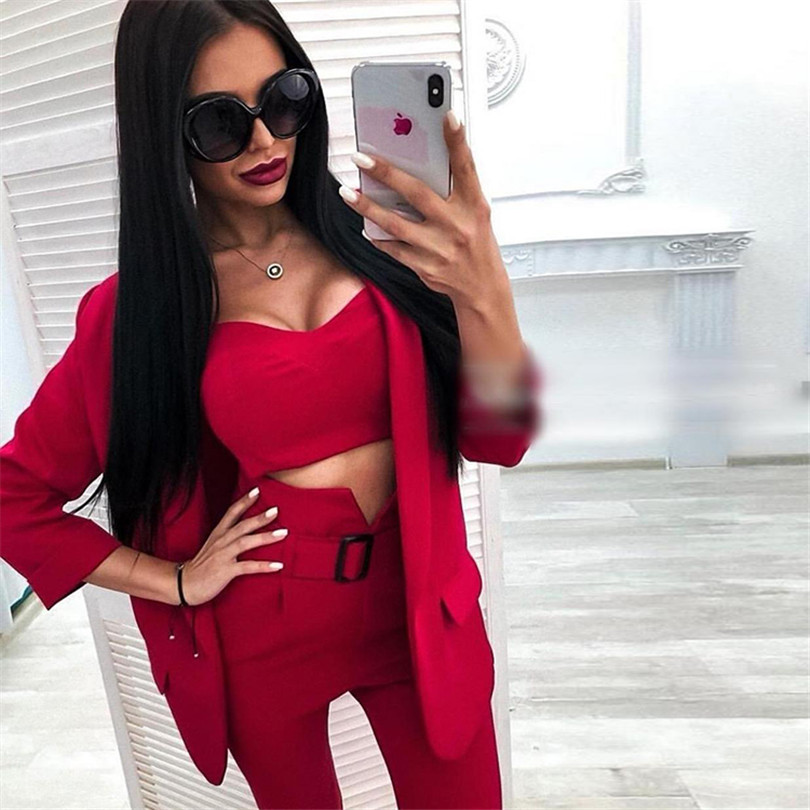 TYHRU Women's Solid Color Blazer Three Piece Suit Notched Collar Jacket Crop Sling Tops And Trouser Business Sets