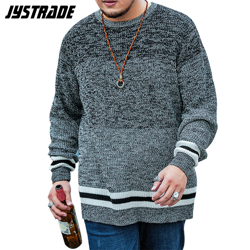 Mens Long Sleeve Knitted Sweater Dress Men Striped Oversized Pullover Top Male Winter Sweater Cotton Coat Streetwear Outwear