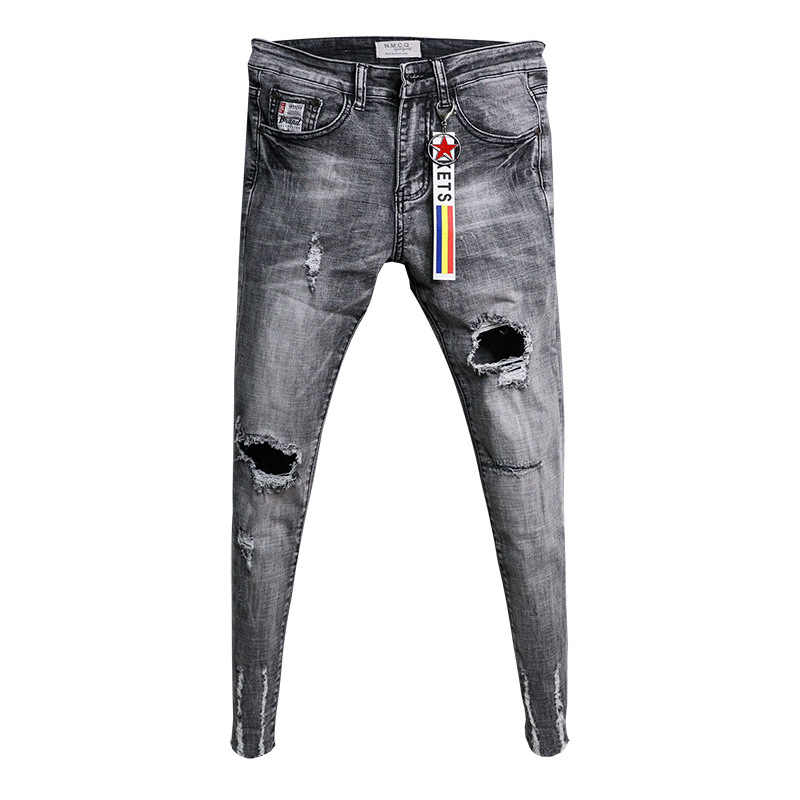 Groothandel 2020 Fashion Casual Tieners Cowboy Koreaanse Trendy Knie Ripped Gat Skinny Jeans Mannen Raw Edge Fashion Stretch Broek