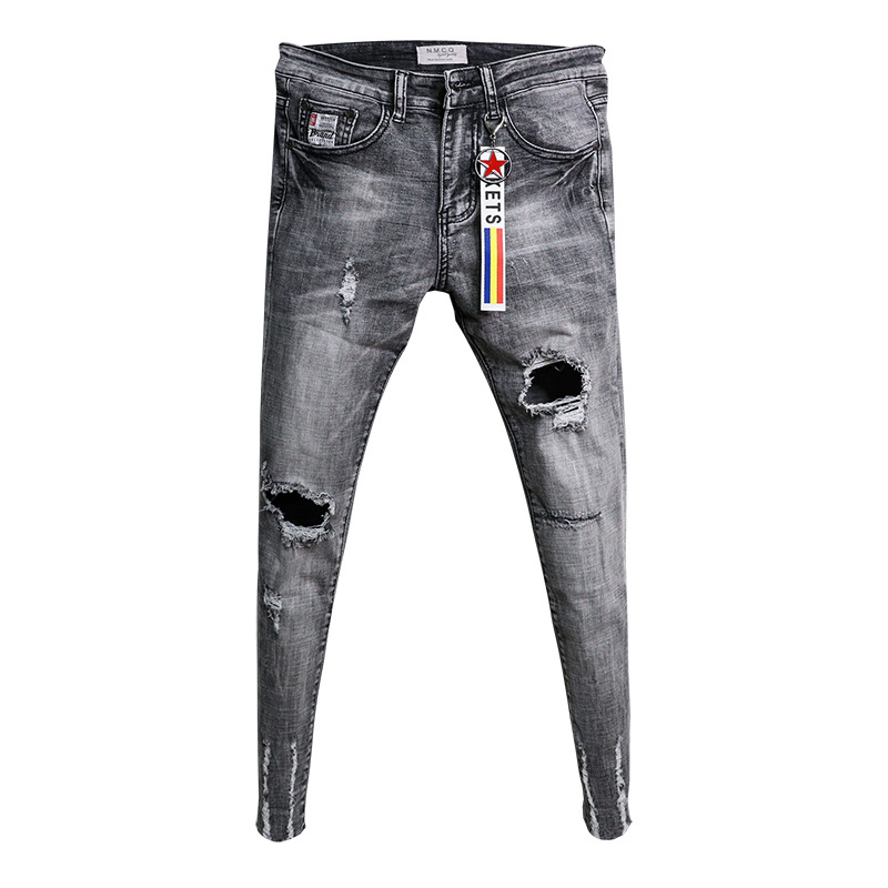 Wholesale 2020 Fashion Casual Teenagers Cowboy Korean Trendy Knee Ripped Hole Skinny Jeans Men's Raw Edge Fashion Stretch Pants