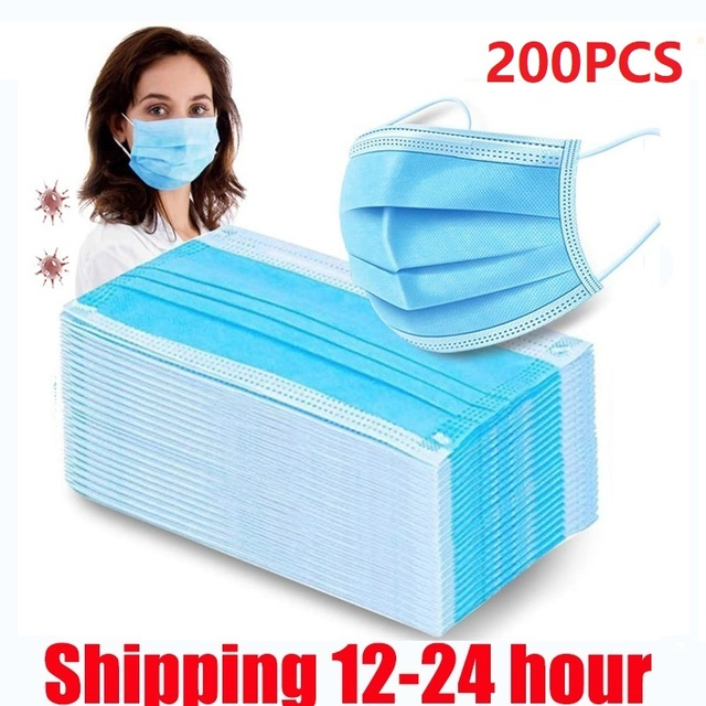 200 Pcs Face Mask Anti-pollution Disposable Facial Mask 3 Layers Non-woven Filter Personal Mouth Face Masks Earmuff