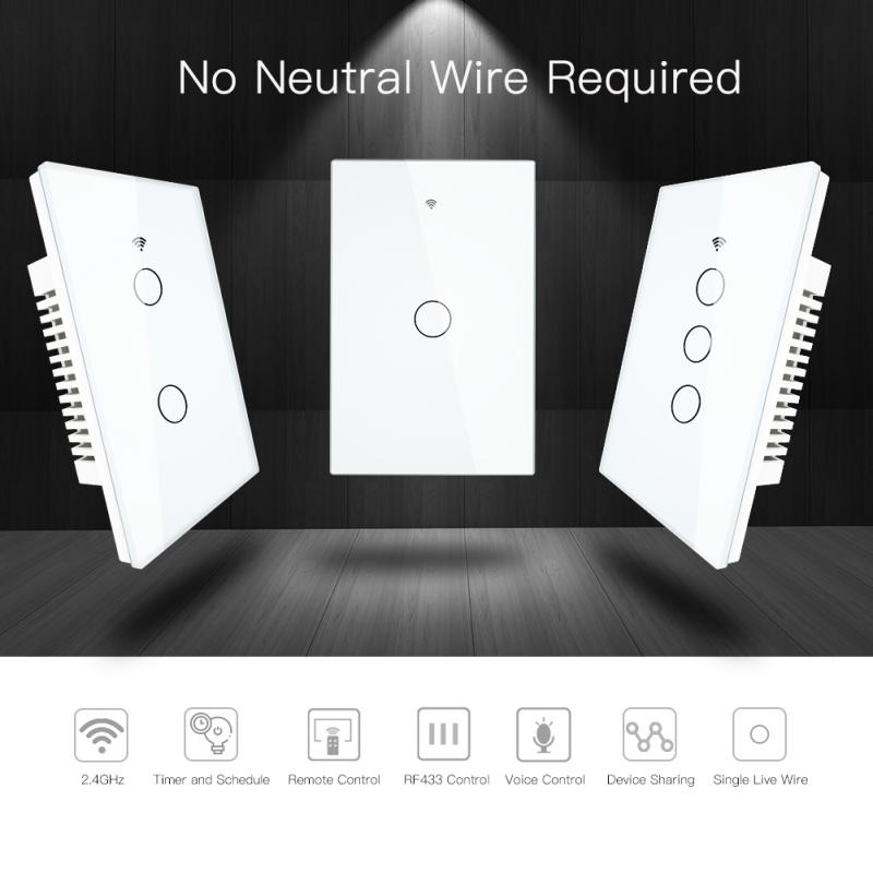 Wifi Smart Light Switch Glass Screen Touch Panel Voice Control Wireless Wall Switches Remote With Alexa Google Home 1/2/3/4 Gang
