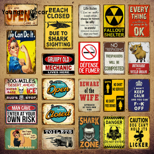 Open Closed Metal Signs Vintage Shark Zone Art Poster Garage Pub Rustic Wall Plaque Bar Diner Home Decor Toilets Plate YI-158