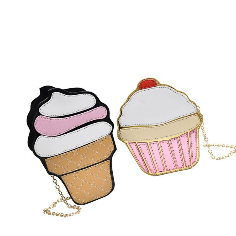Ice Cream Bags For Women 2019 Cute Cartoon Cupcake Mini Bags PU Leather Small Chain Clutch Crossbody Girl Shoulder Messenger Bag
