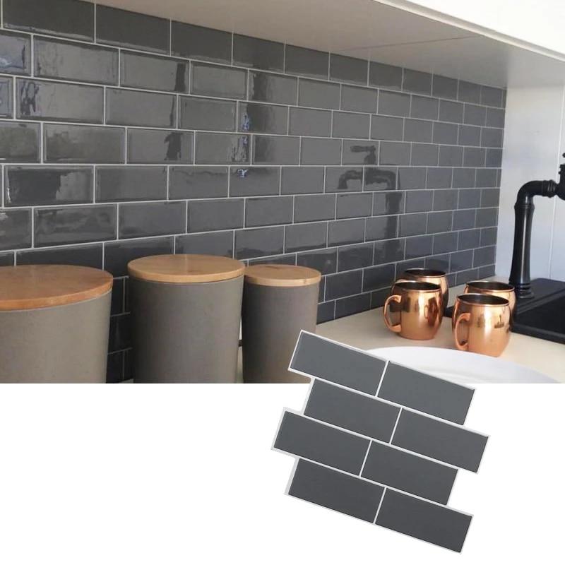 self adhesive peel and stick black tile backsplash 3d wall decal sticker diy kitchen bathroom home decor vinyl