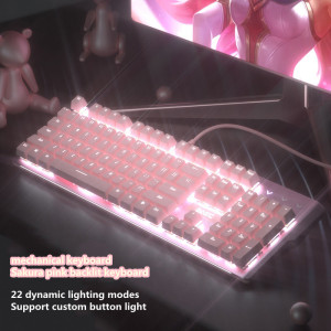 Image 2 - New girly pink gaming mechanical wired keyboard 104 key USB interface white backlight is suitable for gamers PC laptops