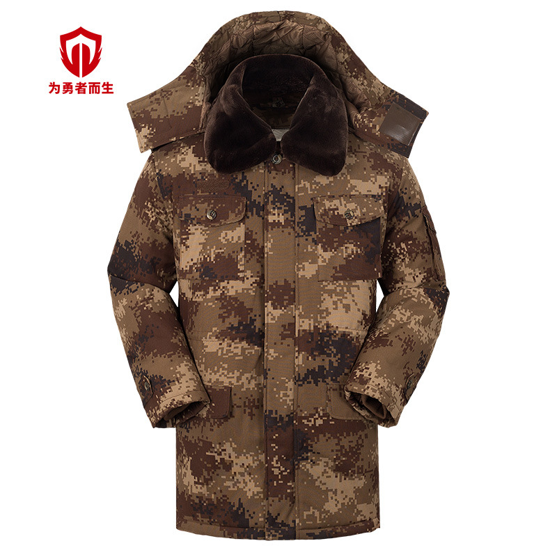 Horse Desert Outdoor Training Camouflage Overcoat Winter Men's Thick Waterproof Cold Cotton Jacket Hooded Manufacturers Direct S
