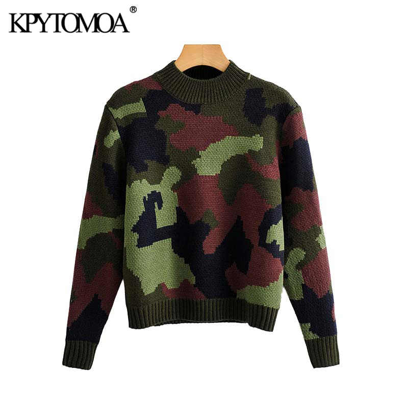 Vintage Stylish Camouflage Knitted Sweater Women 2020 Fashion O Neck Long Sleeve Stretchy Female Pullovers Chic Tops