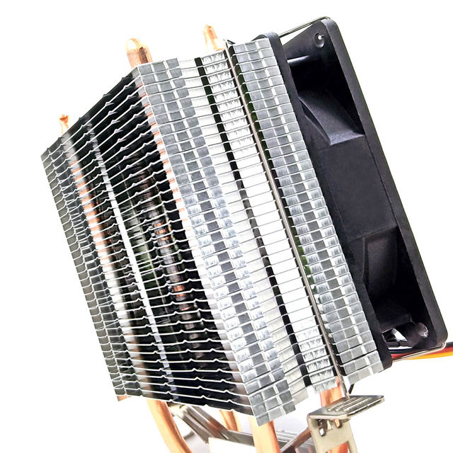 CPU Cooler 2 Heat Pipes 4 Pins Cooling Fan Silent Heat Sink for PC