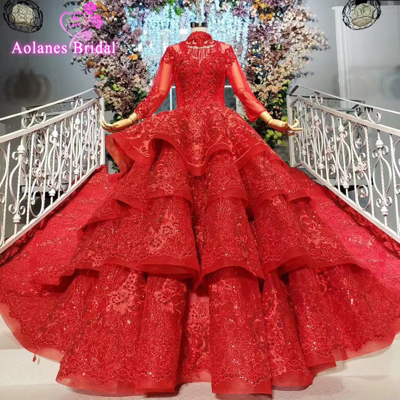 New Arrival Red Ball Gown Prom Dresses High Neck Ruffless Tiered Bridal Dresses Sweetheart Crystals Full Lace Engagement Gowns