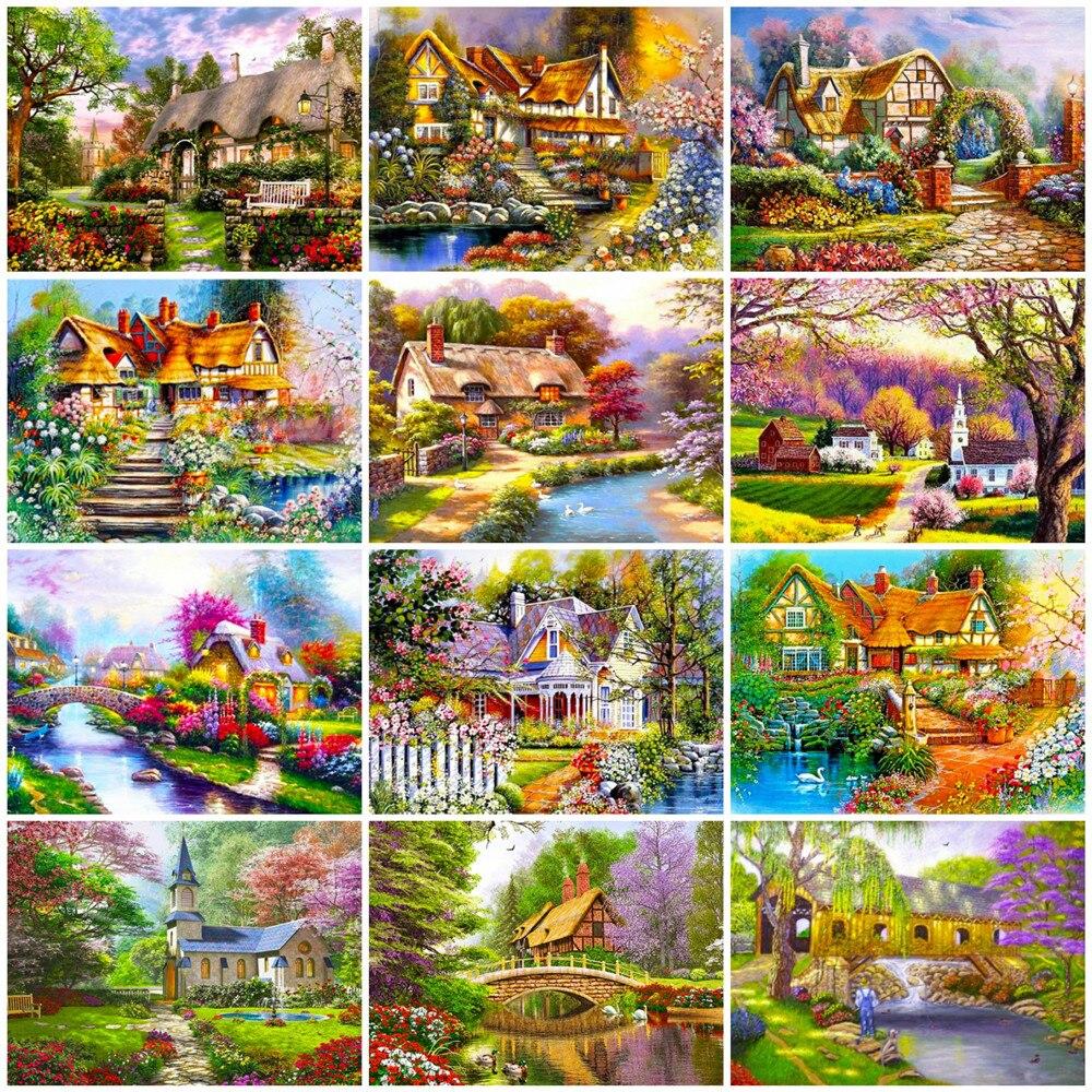 HUACAN numbrite järgi maalimine aiavaated 12 erinevat pilti