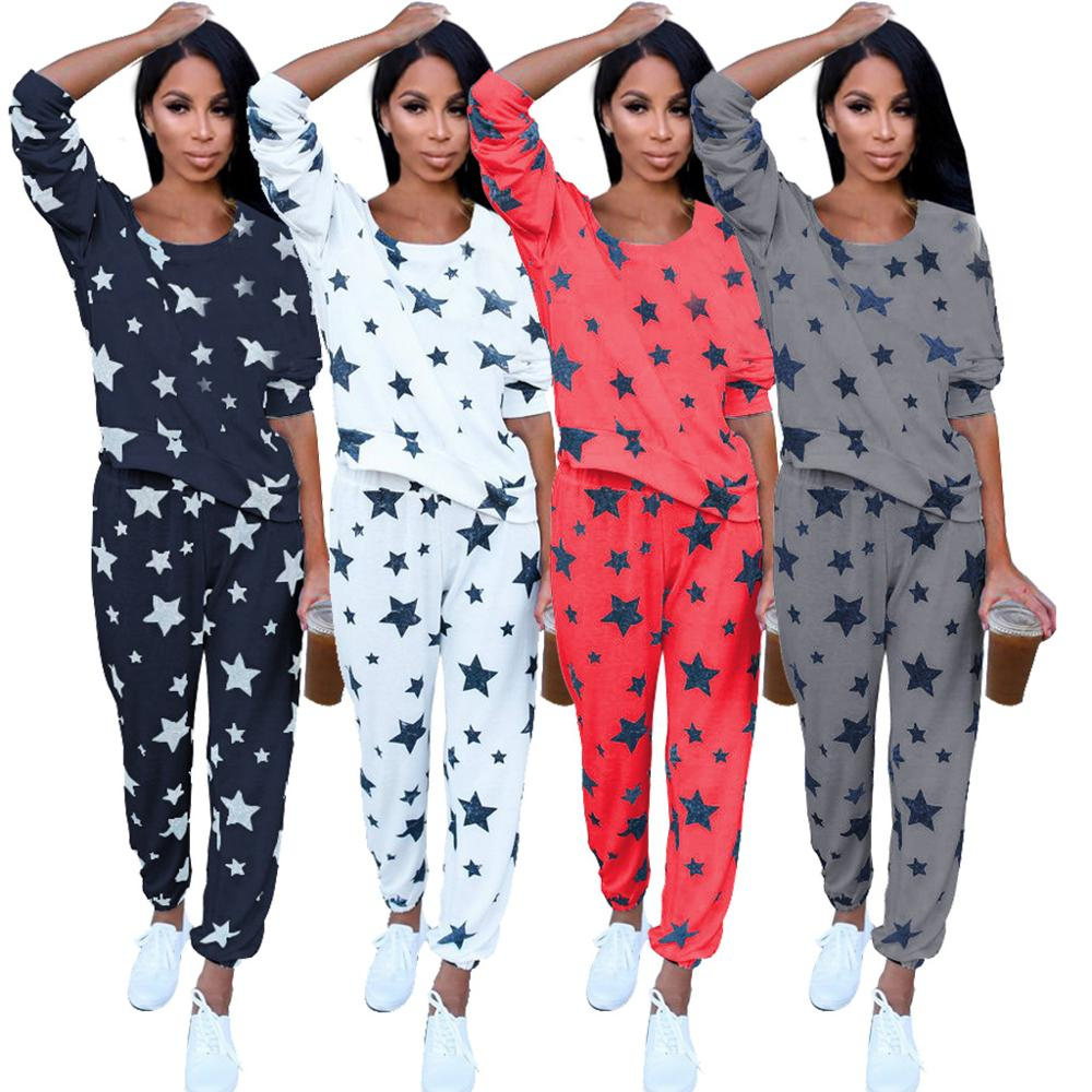 Cute Sexy Women's Pajama Sets Green Red Black White Color With Stars Printed Round Neck Cotton Sweet Pajamas For Ladies